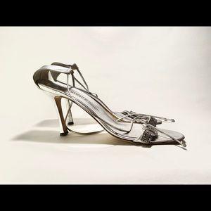 Manolo Blahnik strappy rhinestone buckle heels